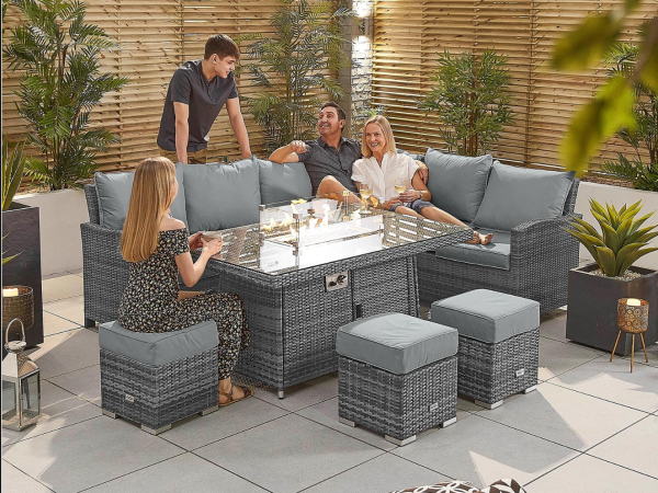 Casual Fire Pit Rattan Furniture, Garden Furniture With Fire Pit Table